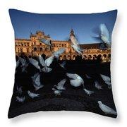 Pigeons Flutter Above The Plaza De Throw Pillow