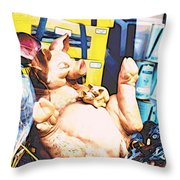 Piggy And Piglets In Store Window Throw Pillow