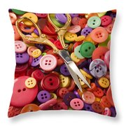 Pile Of Buttons With Scissors  Throw Pillow