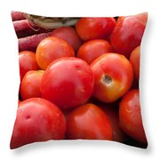 Pile Of Red Luscious Tomatoes Along With Carrots On A Vegetable Basket Throw Pillow