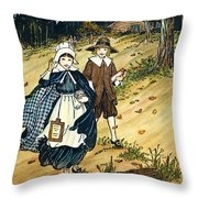 Pilgrim Schoolchildren Throw Pillow