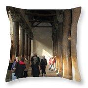 Pilgrims At Nativity Church In Bethlehem Throw Pillow