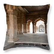 Pillars Of Building Inside Red Fort Throw Pillow