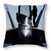 Pilots Conducts A Pre-flight Inspection Throw Pillow