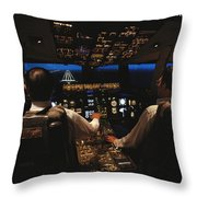 Pilots In The Cockpit Of An Aircraft Throw Pillow