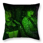 Pilots In The Cockpit Of An Oh-58d Throw Pillow