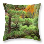 Pine And Autumn Colors In A Japanese Garden II Throw Pillow