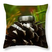 Pine Cone And Wedding Band Throw Pillow