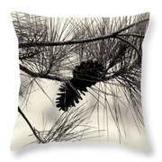 Pine Cones In The Treetops Throw Pillow