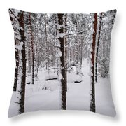 Pine Forest In January Throw Pillow