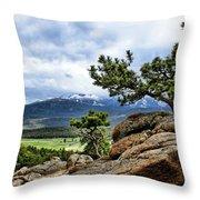 Pine Tree And Mountains Throw Pillow