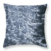 Pine Trees Covered In Snow, Les Arcs Throw Pillow
