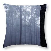 Pine Trees In Cloud In The Forest Corona Throw Pillow