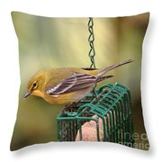 Pine Warbler 3 Throw Pillow