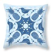 Pineapple And IIwi Hawaiian Quilt Block Throw Pillow