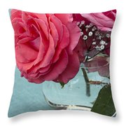 Pink And Aqua Roses Throw Pillow