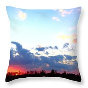 Pink And Blue Sunset Throw Pillow
