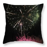 Pink And Green Delight Throw Pillow