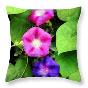 Pink And Purple Morning Glories Throw Pillow