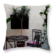 Pink And Purple Patio Throw Pillow