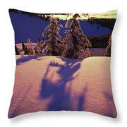 Pink And Purple Sunrise Shadows Of Snow Throw Pillow