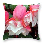 Pink And White Ruffled Fuschias Throw Pillow