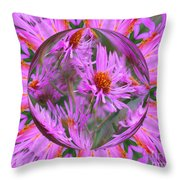 Pink Asters Energy Throw Pillow
