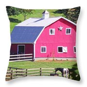 Pink Barn In The Summer Throw Pillow