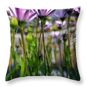 Pink Blossoming Flowers Throw Pillow