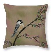 Pink Bud Chickadees - Bird 1 Throw Pillow