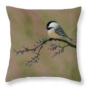Pink Bud Chickadees - Bird 2 Throw Pillow