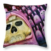 Pink Bunny Art Throw Pillow