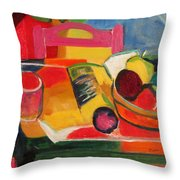 Pink Chair And Pink Plum Throw Pillow