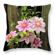 Pink Climatis Flower Throw Pillow