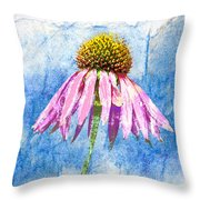 Pink Coneflower On Blue Throw Pillow