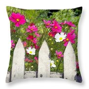 Pink Cosmos Flowers And White Picket Fence Throw Pillow