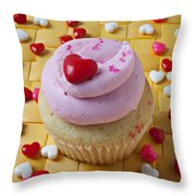 Pink Cupcake With Candy Hearts Throw Pillow