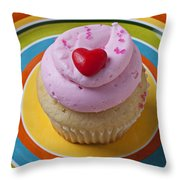 Pink Cupcake With Red Heart Throw Pillow