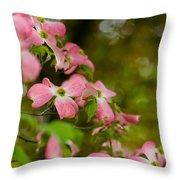 Pink Dogwood Blooms Throw Pillow