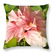 Pink Double Hibiscus Throw Pillow