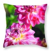 Pink Flower Pair Throw Pillow