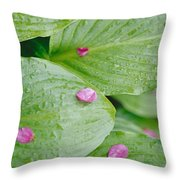 Pink Flower Petals Resting On Dew Throw Pillow