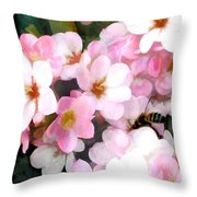 Pink Flowers With Bee Throw Pillow