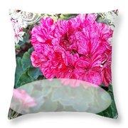 Pink Geranium Greeting Card Blank Throw Pillow