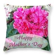 Pink Geranium Greeting Card Mothers Day Throw Pillow