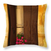 Pink Geraniums Brown Shutters And Yellow Window In Italy Throw Pillow