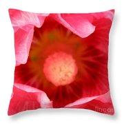 Pink Hollyhock 2 Throw Pillow