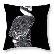 Pink Ice Flamingo Ice Carving Throw Pillow