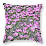 Pink Ice Plant Flowers Throw Pillow