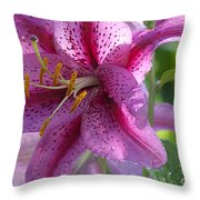 Pink Lily After The Rain Throw Pillow